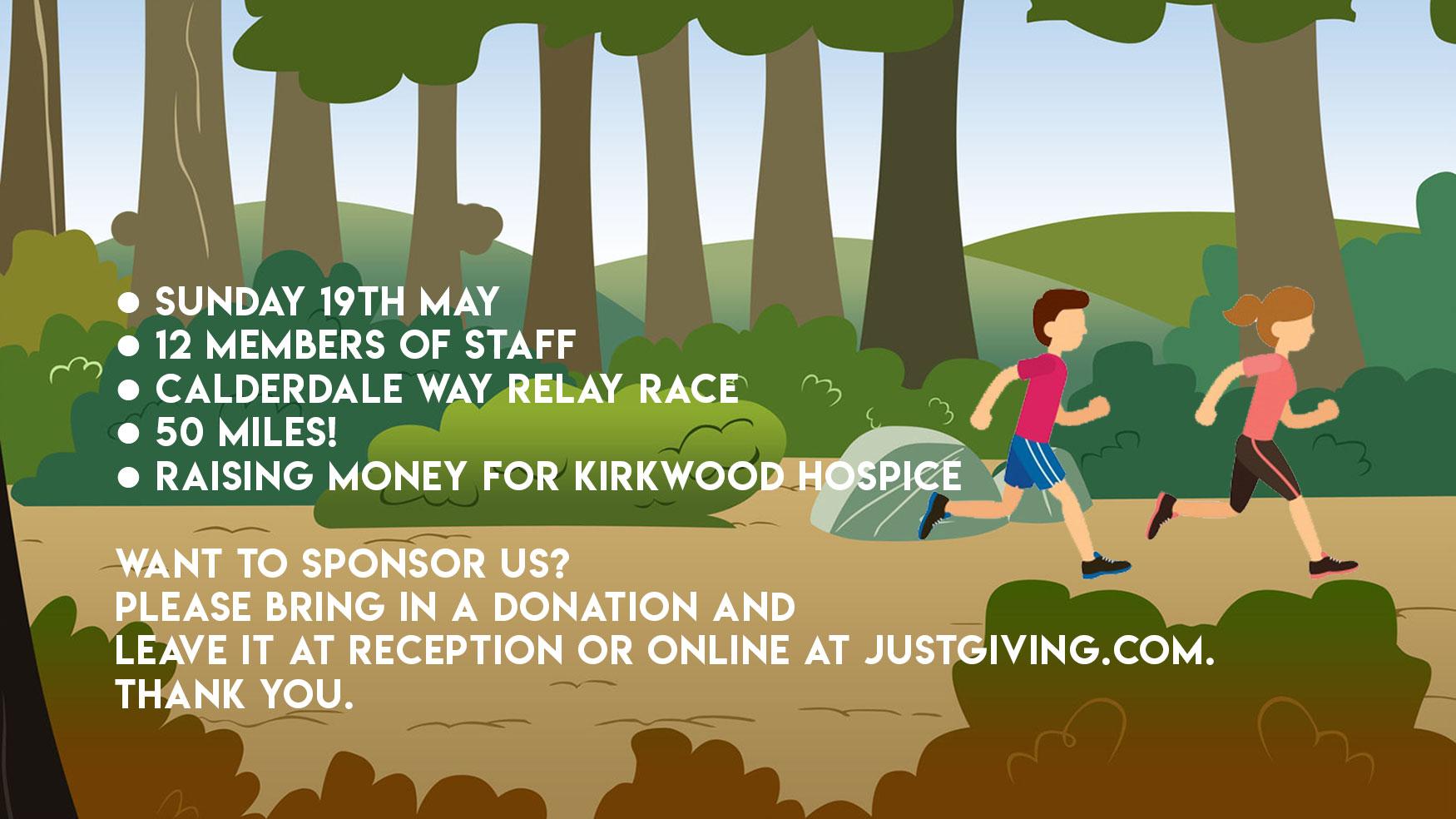 Calderdale Way Relay Run £920 raised for Kirkwood Hospice